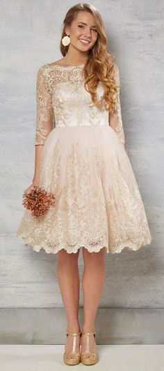 $169.29-Country Style Knee-Length Lace Short Champagne Wedding Dress With Sleeves. http://www.ucenterdress.com/a-line-bateau-neck-knee-length-3-4-sleeve-lace-wedding-dress-with-illusion-pMK_703800.html. Free Custom-made