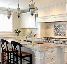 Granite Colors For White Cabinets Bianco Romano Countertop Kitchen Island Pendant Lights
