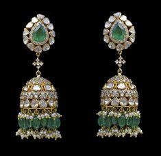 Diamond Jhumkas, Emerald Jewelry, Indian Jewelry, Jewellery, Drop Earrings, Jewels, Schmuck, Drop Earring, Jewelry Shop
