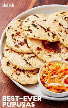 Pupusas are an easy flatbread made from masa harina that get stuffed with cheese or refried beans - or both! Veggie Recipes, Lunch Recipes, Mexican Food Recipes, Cooking Recipes, Masa Recipes, Cooking Joy, Bread Recipes, Yummy Recipes, Recipies