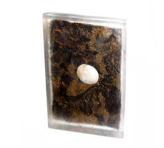"""""""L'ultima ora"""" - calco in resina con tessuto e ciottolo, 9x6x1 cm, 2014"""