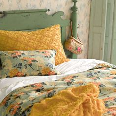 Country inspired bedroom - green and yellow  I LOVE everything about this