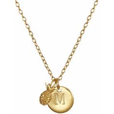 Lee Renee - Pineapple & Initial Necklace (24.865 HUF) ❤ liked on Polyvore featuring jewelry, necklaces, initial necklace, chain necklace, initial jewelry, letter jewelry and letter necklaces