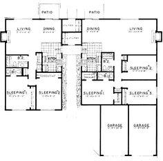Modern Style House Plan - 3 Beds 1.5 Baths 2064 Sq/Ft Plan #303-146 Floor Plan - Main Floor Plan - Houseplans.com