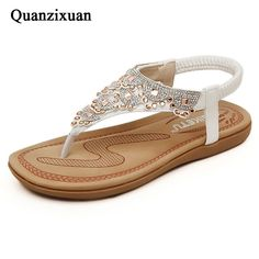 Quanzixuan Women Sandals Summer Flat Sandals Fashion Crystal Bohemian Flip  Flops Female Shoes Beach Sandals Ladies 60a6c2dd4687