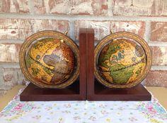 Vintage Old World Globe Wood Base Bookends - Office Decor - Neutral tones on Etsy, $32.95