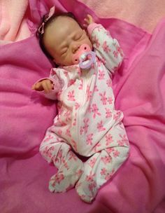Lillie Beth reborn baby doll all comfy in her bunny sleeper