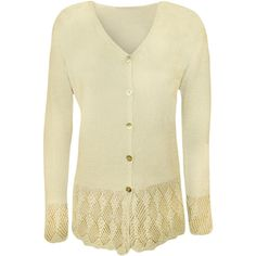 WearAll Plus Size Crochet Detail Knitted Cardigan ($21) ❤ liked on Polyvore featuring tops, cardigans, cream, plus size cardigans, plus size crochet cardigan, layered tops, crochet tops and button front cardigan