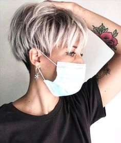 Pixie Haircut For Thick Hair, Shaggy Short Hair, Short Pixie Haircuts, Short Grey Hair, Short Blonde, Short Hair Cuts For Women, Pixie Hairstyles, Trendy Hairstyles, Tomboy Hairstyles