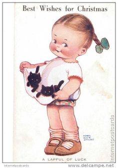 Mabel Lucie Attwell card  best wishes for christmas art black cat kitten girl toddler