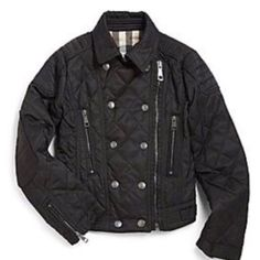 BURBERRY NEW KIDS BLACK QUILTED MOTORCYCLE JACKET BURBERRY kids black quilted motorcycle jacket. Lined and trimmed in famous nova check. Roll up sleeves to expose check as well as under the collar. Zip closure and snap detail on front. Padded elbows. This jacket is STUNNING - Size 12. Brand new, never worn. Burberry Jackets & Coats