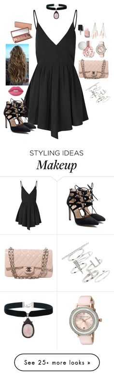 """Untitled #661"" by kaitlynstoll on Polyvore featuring Glamorous, Chanel, Lime Crime, Urban Decay, Ted Baker, Charlotte Russe, Topshop, summerdate and rooftopbar"