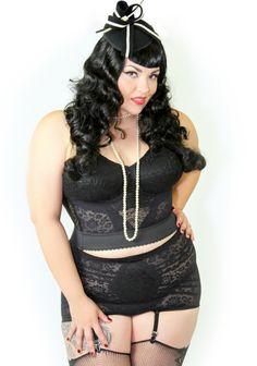 6909f451483 Domino Dollhouse - Rago Lace Longline Bra  amp  Brief  plussize  lingerie   pinup