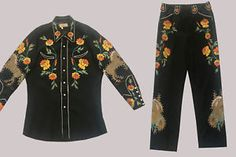 Vintage Western Suit TOURNAMENT OF ROSES Vaquero label Two Piece Embroidered  | eBay Vintage Western Wear, Western Suits, Vintage Cowgirl, Western Style, Cowboy Outfits, Westerns, Vintage Fashion, Honky Tonk, Glamour