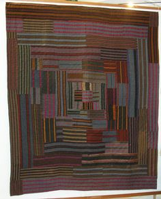 Antique Welsh quilt.  Perfect use for all those Kaffe stripes.