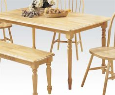 Farmhouse Collection Rectangular Dining Table with Turned Legs Apron Rubberwood and Chipboard Construction in Natural Finish Acme Furniture, Dining Room Furniture, Natural Wood Dining Table, Farmhouse, Flooring, Collections, Home Decor, Casual, Country