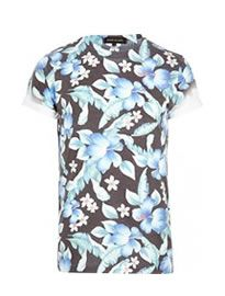 River Island Dark Grey Floral Print T-shirt