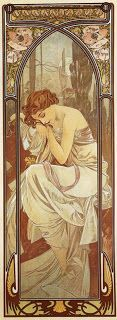 """Alphonse Maria Mucha, """"Night's Rest""""  From The Times of the Day Series 1899"""