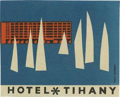 luggage label / Hotel Tihany davidgeorgepearson Clever graphic design and solid lettering Graphic Design Illustration, Graphic Design Typography, Graphic Art, Vintage Luggage, Vintage Travel Posters, Vintage Suitcases, Vintage Hotels, Vintage Market, Luggage Labels