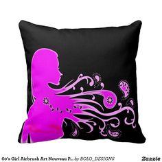 60's Girl Airbrush Art Nouveau Plush Throw Pillow