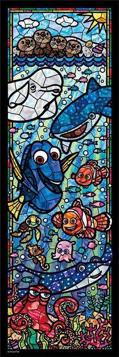Disney 456 pcs Finding Nemo Jigsaw Puzzle Stained Glass Art 18.5x55.5cm #Tenyo