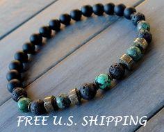 Prosperity Mens African Turquoisea, Pyrite, Onyx bracelet mala, Reiki, Tribal bracelet, healing bracelet, energy bracelet,