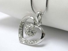 White Gold Plating Swarovski Crystal Stud Heart Dangle in Heart Pendant Necklace