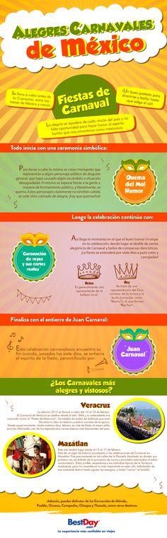 ¡Ya estamos en Febrero mes de los Carnavales! ¿Sabes cuáles son los carnavales más alegres y vistosos? Checa más información en nuestra infografía