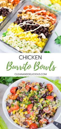 This Chicken Burrito Bowl recipe is an easy and healthy way to meal prep.  Made with ground chicken, cilantro lime cauliflower rice, black beans, corn and tomatoes, they make a great lunch or a simple dinner for busy weekdays. Watch the video for instructions! #burritobowl #groundchicken #mealprep #cleaneating