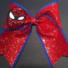 3in. Glitter Spider-Man Superhero Cheer Bow on Etsy, $12.00
