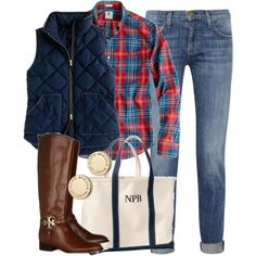 A fashion look from January 2013 featuring J.Crew vests, Current/Elliott jeans and MARC BY MARC JACOBS earrings. Browse and shop related looks.