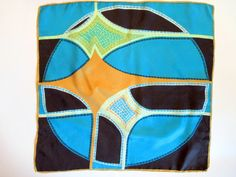 Scarf in Turquoise Blue Gold Mint Green & Black by aPlaceOfRefuge