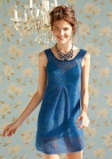Blaues Kleid gestrickt mit ggh-Garn KID MELANGE, Garnpaket zu Modell 8 aus Rebecca Nr. 57