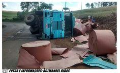 BLOG DE NOTÍCIAS DE MANOEL RIBAS E REGIÃO: Caminhão carregado de bobinas tomba na curva perig...