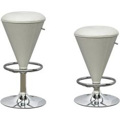 CorLiving Cone Shaped Adjustable Barstool, Multiple Colors, White