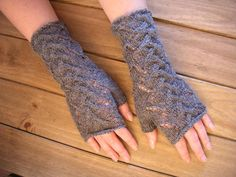 Hand knitted lacy fingerless gloves wrist warmers