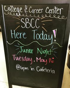 SBCC here today. Come by if you have any questions for the advisors!  Junior night on Tuesday may 16th at 6 in the cafeteria! College essay help in choir room and Spanish presentation in Band room. Learn about college apps financial aid and SBCC
