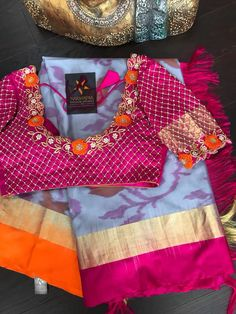 The Colorful Silk Sarees & Blouses To Try This Festive Season saree blouse designs 2018 Wedding Saree Blouse Designs, Pattu Saree Blouse Designs, Blouse Designs Silk, Designer Blouse Patterns, Sari Blouse, Saree Wedding, Blouse Back Neck Designs, Simple Blouse Designs, Stylish Blouse Design
