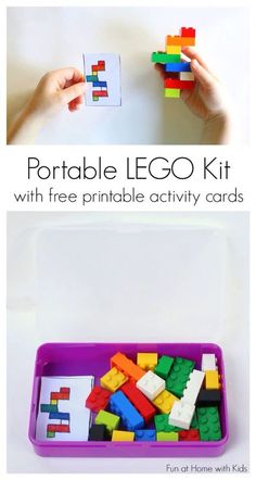 DIY Portable LEGO Kit with 24 Free Printable Activity Cards. A great idea for t. - DIY Portable LEGO Kit with 24 Free Printable Activity Cards. A great idea for those times where yo - Lego Kits, Travel Activities, Preschool Activities, Airplane Activities, Summer Activities, Quiet Time Activities, Indoor Activities, Family Activities, Visual Motor Activities