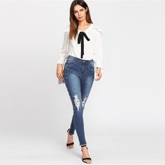 cc9d4a8d0e1 Pearl Beaded Ripped Jeans ------------------------ visit MaioreFashion.com   stylegoals  fashionlover  dressup  ootd  spring  dressing  ootdlove ...