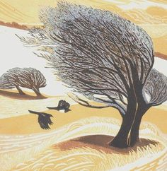 """thewoodbetween: """"Birds Flying into Windswept Trees by Annie Soudain """" Woodcut Art, Linocut Prints, Art Prints, Tree Artwork, Cool Artwork, Art Pictures, Art Images, Wild Is The Wind, Nature Artists"""