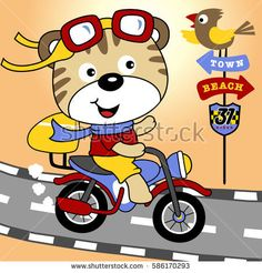a cute animal riding a motorcycle in the road with a bird perched on traffic signs, vector cartoon illustration