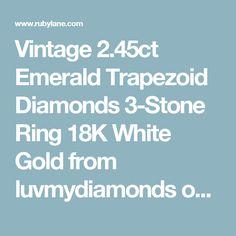 Vintage 2.45ct Emerald Trapezoid Diamonds 3-Stone Ring 18K White Gold  from luvmydiamonds on Ruby Lane