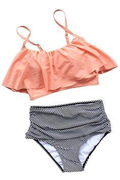 Cupshe Fashion Women Falbala High-waisted Bikini Set (M)