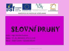 SLOVNÍ DRUHY Autor: Mgr. Monika Dudová Bingo, Classroom, Teaching, Education, Author, Literature, Class Room, Learning, Squad