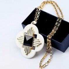 Chic Fashion Colored Cross Pendant Sweater Chain Necklace For Women