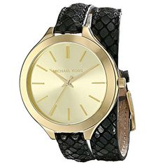 Michael Kors Runway Champagne Dial Black Leather Ladies Watch MK2315 *** Find out more about the great product at the image link.