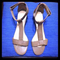"""Nine West size 9 sandals Leather, Cognac color, 2"""" heel, ankle strap sandals Nine West Shoes Sandals"""