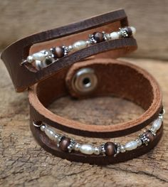 Freshwater Pearl & Wood Leather Cuff