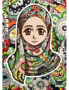 #hijab_girl #manga #anime  Muslimah by SNDS-Rouini.deviantart.com on @DeviantArt Woman Drawing, Anime Art, Manga Anime, Girl Cartoon, Fashion Pictures, Beautiful Birds, Art Girl, Chibi, Art Pieces